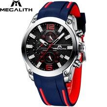 MEGALITH erkekler saatler spor su geçirmez kronograf Analog kuvars saatler aydınlık eller silikon kayış saatler Relogio Masculino