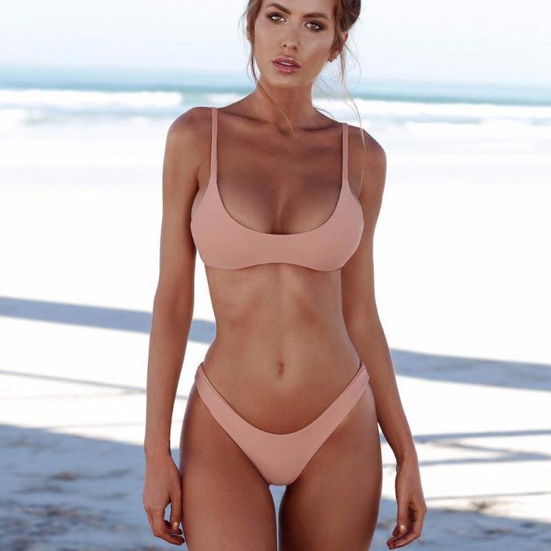 HTB1P4nNX8OD3KVjSZFFq6An9pXaz 2019 New Summer Women Solid Bikini Set Push-up UnPadded Bra Swimsuit Swimwear Triangle Bather Suit Swimming Suit biquini