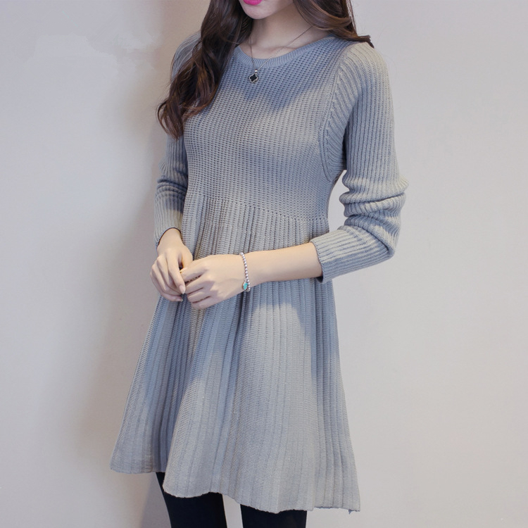 New 2018 Women Dress Sweater Fashion Medium-length Wool Sweater Large size Casual Knit Shirt Winter Women Sweater Dress J1106