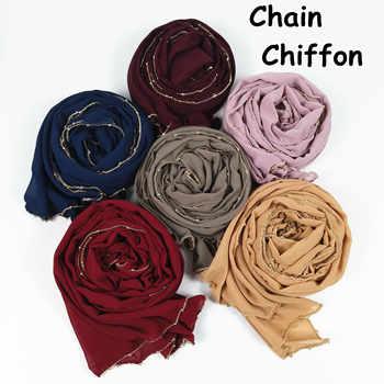 M24  High quality gold chain big size chiffon  hijab scarf women shawl lady wrap headband 180*75cm 10pcs/lot - DISCOUNT ITEM  0% OFF All Category
