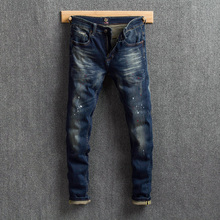 Fashion Streetwear Men Jeans Vintage Retro Wash Blue Slim Fit Printed Jeans Men Paint Designer Denim Pants Elastic Hip Hop Jeans fashion streetwear men jeans retro wash slim fit paint designer ripped jeans men printed pants destroyed hip hop jeans