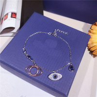 XIFAN Classic Blue Evil Eye Micro Pave CZ Charm Bracelet Bar Slider Brilliant Tennis Chain Bangle Bracelet Femme Jewelry