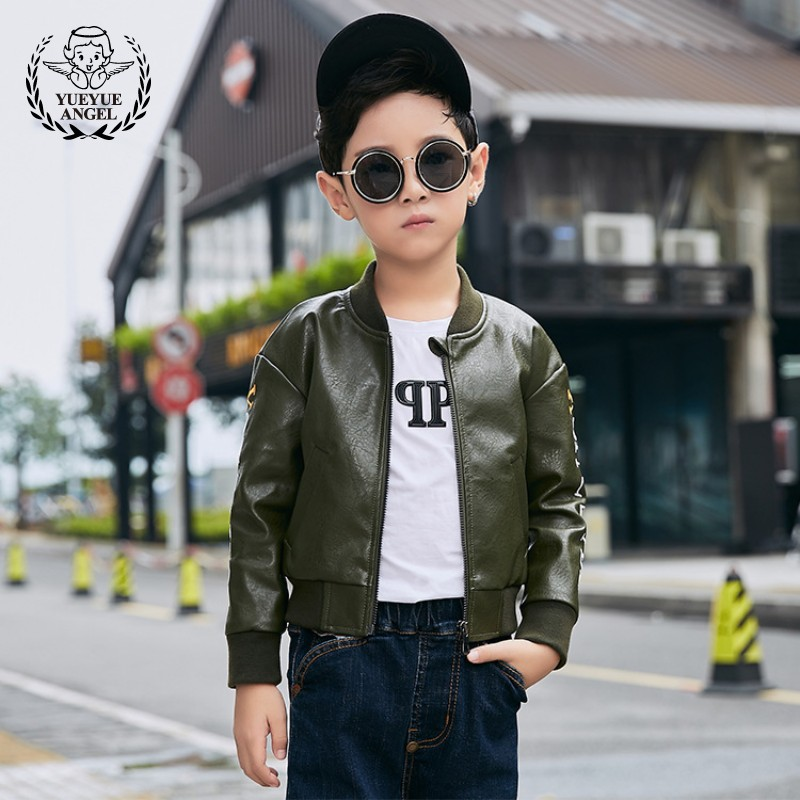 Boys Autumn New Embroidery Army Green Bomber Jacket Stand Collar Pilot Pu Leather Jacket Kids Coat Casual Motor Biker Slim Coats