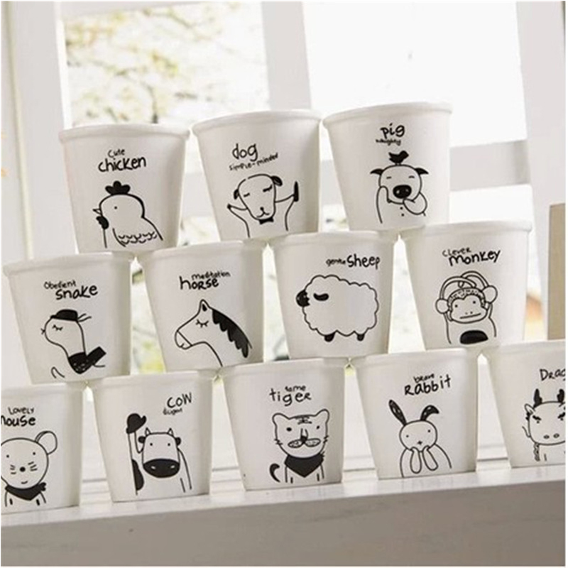3pcs Zakka Japanese 12 Zodiac Cup Cartoon Animal Cup Cute