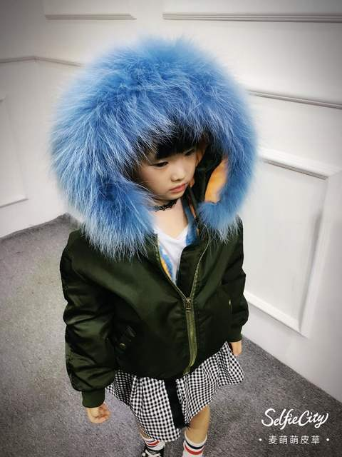 aba56075b0c4 Online Shop Children Army Coat Real Rabbit Fur Clothing Winter ...