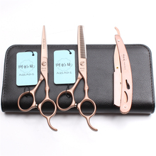 3Pcs/Set A9030 5.5 Professional Hairdressing Human Hair Scissors Japan Steel 440C Razor + Cutting Shears Thinning
