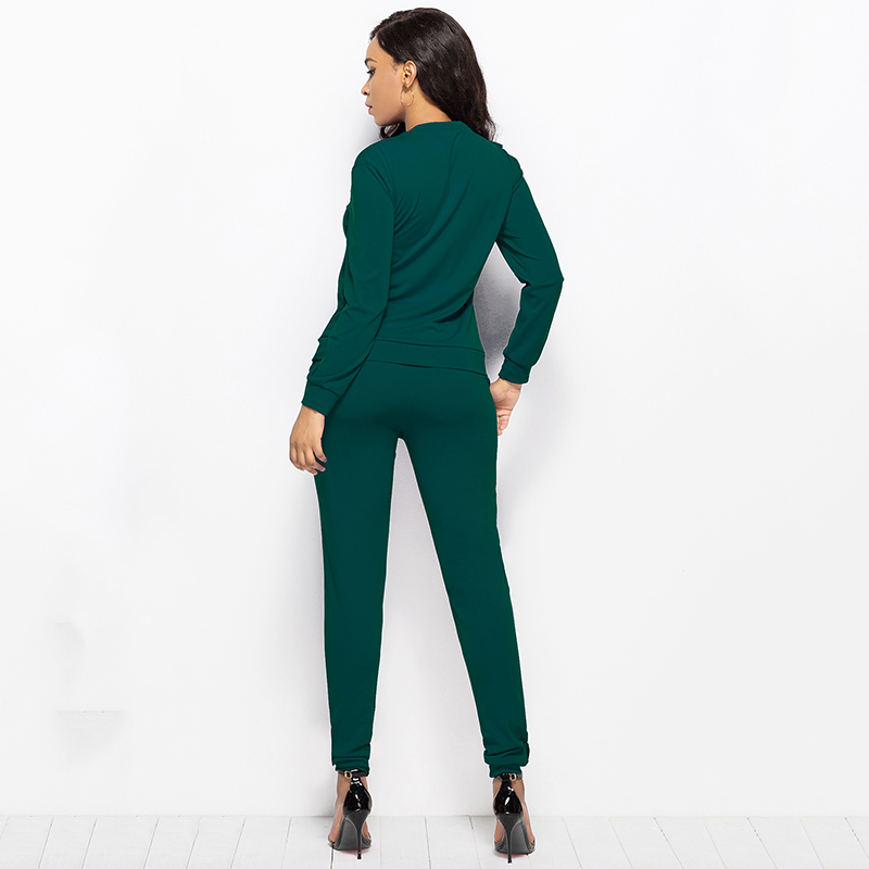 2019 Autumn New Solid Two Piece Sets Women Long Sleeve Round Neck Tops Trousers Ruffles Tracksuit Set 2 Piece Sets Ladies Suits 47