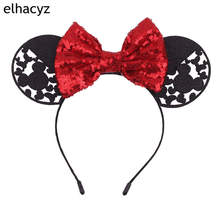 2019 Valentine/Christmas Minnie Mouse Ears Headbands 5''Sequin Bow Hairband For Girls Women Party Headwear Hair Accessories 1pc new valentine minnie mouse ears headbands 5 sequin bow hairband for girls kids party headband hair accessories