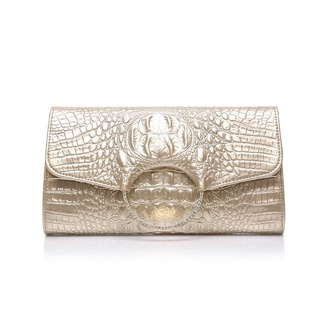 CETIRI women genuine leather clutch alligator Ring diamond messegner bag Lady Clutch Feminina Evening Hard Clutch Wedding gold