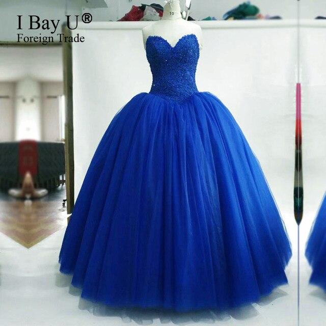 Nyata Gambar Navy Mewah Biru Kristal Ball Gown Wedding Dress Gaun