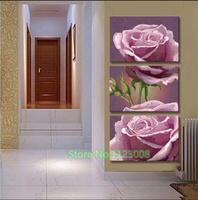 Diy Pink Roses 3pcs Set High End Home Decoration Diamond Painting Triptych New Style Full Rhinestone