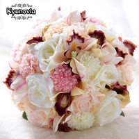 Kyunovia Silk Wedding Bouquet Wedding Flowers Keepsake Bouquet Bridal Bouquet Coral Rose and pink hydrangea Wedding Bouquet FE36