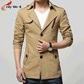 Suit Collar Male Long Windbreaker Fashion Jacket Mens Slim Coat Trench Coats Single Breasted Plus Size M-3XL Black Red Khaki