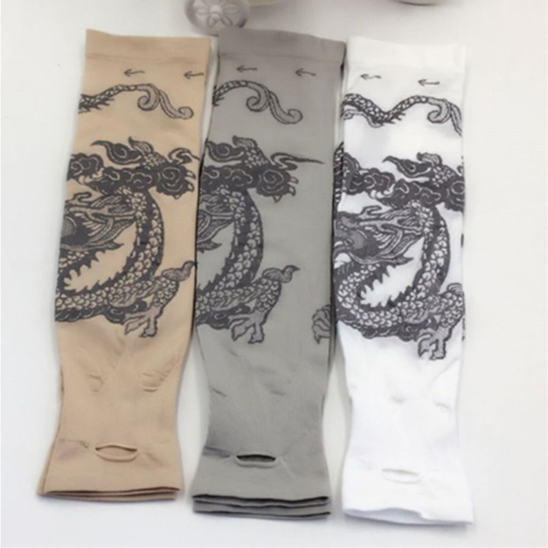 Women Men Summer Ice Silk UV Protection Arm Sleeves Cooling Sports Dragon Tattoo Printed Driving Fingerless Gloves