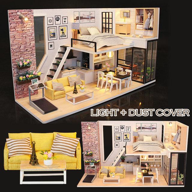 Diy Doll House Wooden Doll Houses Miniature Dollhouse Furniture Kit Toys for Children Girls Christmas Gift M038