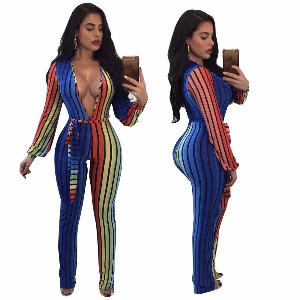 2018 Spring Women Striped Jumpsuit Plus size Clothing Sexy V-neck Bodysuit Sashes