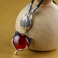 100% Real 925 Sterling Silver Jewelry Red Garnet Retro & Elegant Fox Pendant For Women Sweater Chain Pendants