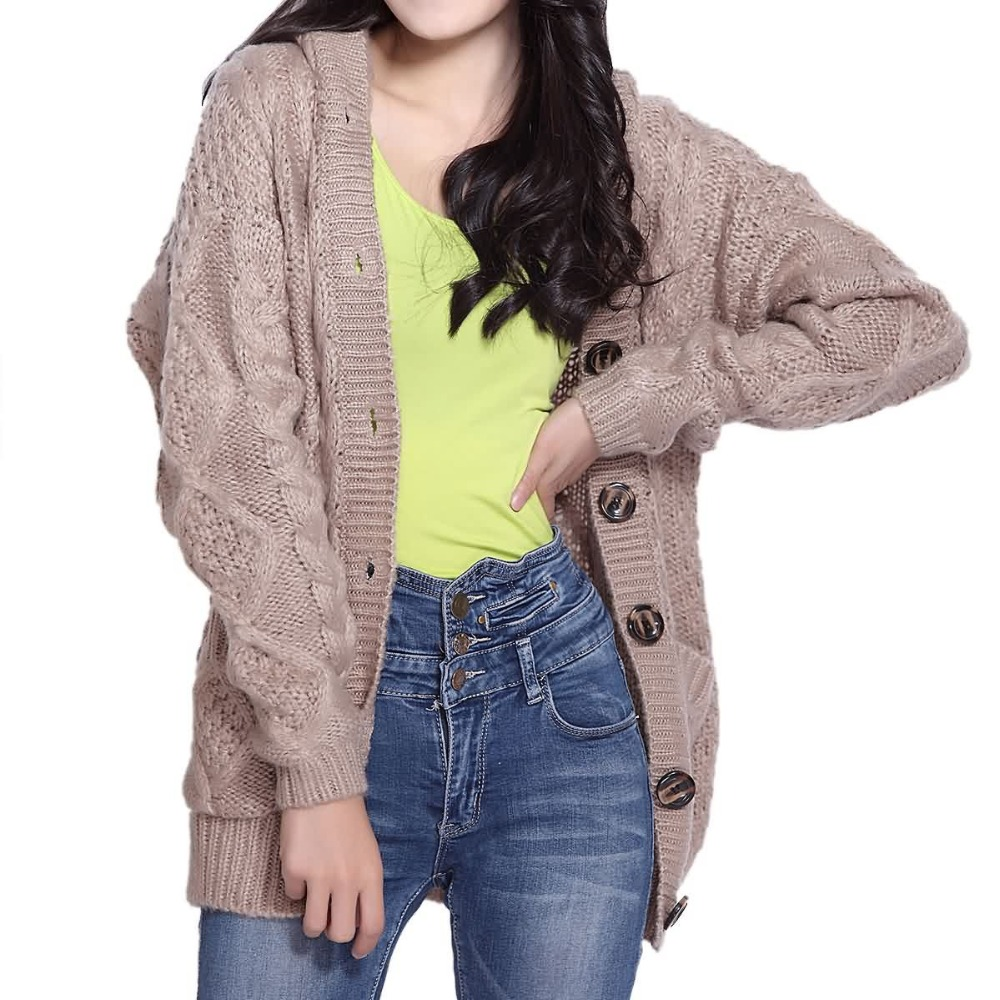 Casual Loose Medium Long Hooded Button Women Sweater Cardigan Grey ...
