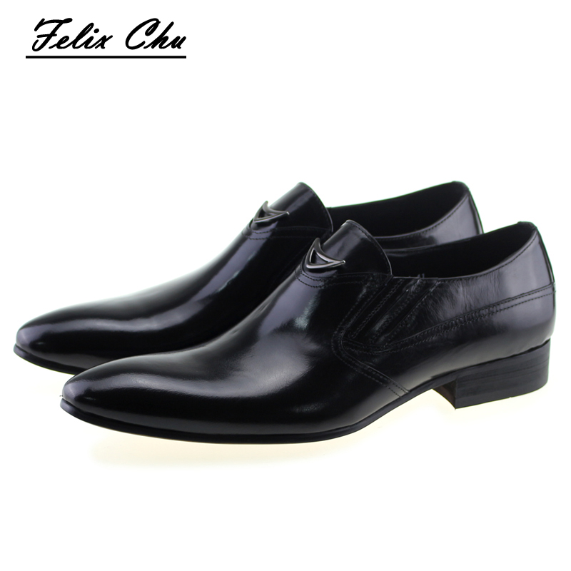 Fashion Italian Autumn Style Genuine Leather Slip On Men Formal Shoes Black Yellow Pointed Toe Business Dress Shiny Footwear