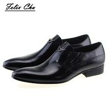 Модные Итальянские осенние Стиль Пояса из натуральной кожи слипоны Мужская деловая обувь черного, желтого цвета острый носок платье в деловом стиле блестящая обувь