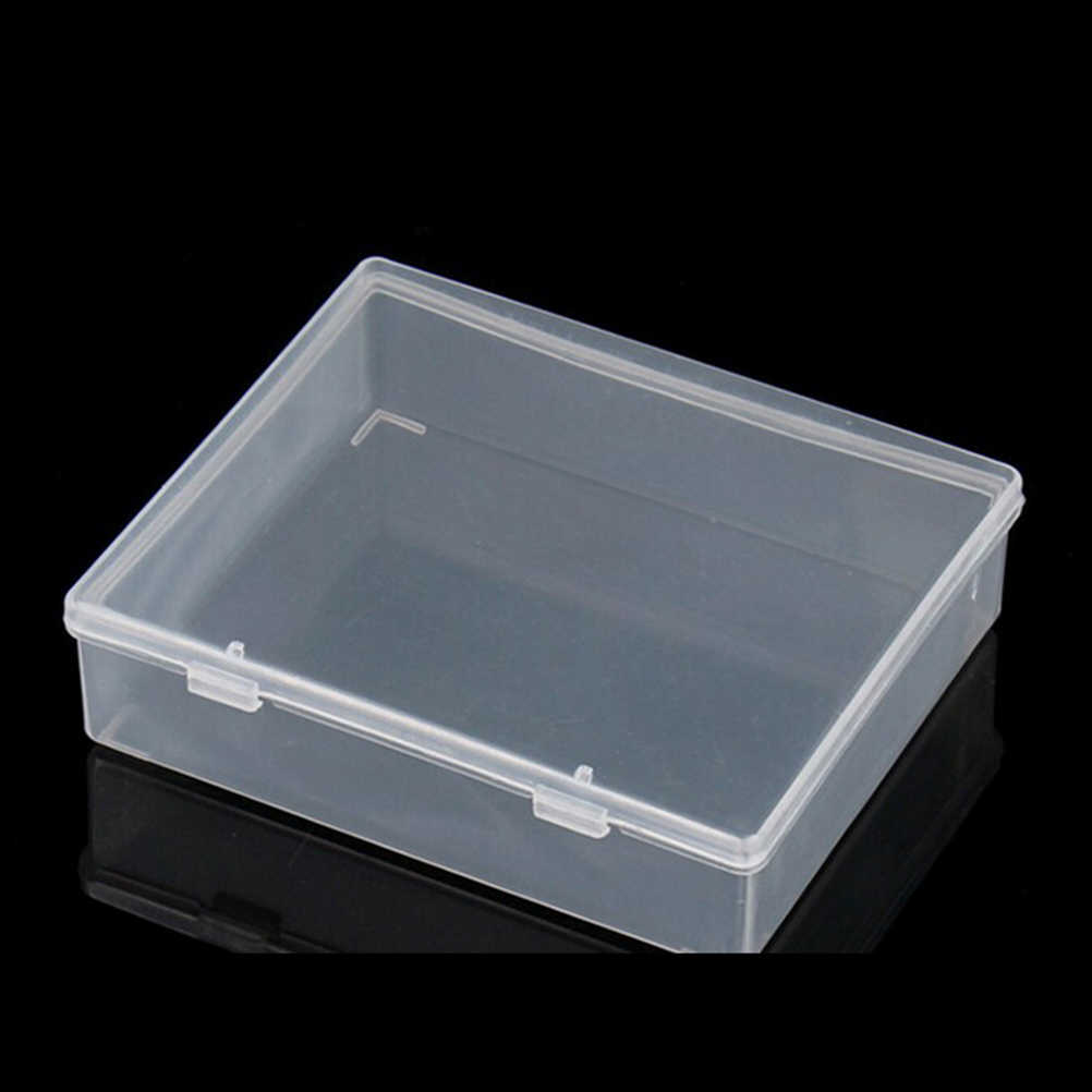 Cajas plásticas de 9,9*8,2*2,5 CM con cubierta rectangular contenedor plástico transparente cajas de herramientas de almacenamiento componente en blanco tornillo joyería