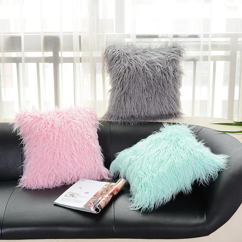 45x45CM Plush soft solid fur feather Cushion Cover Lumbar Pillows case luxury sofa bed home car room home Dec wholesale FG598