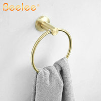 Towel Ring Golden Brush Wall Mounted Stainless Steel Towel Holder Wall Mounted Towel Hanger Circle Shape Beelee, BA17806GB