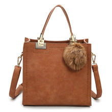 NEW HOT SALE Suede Leather handbag with fur ball handbag women casual tote bag female large shoulder messenger bags high quality