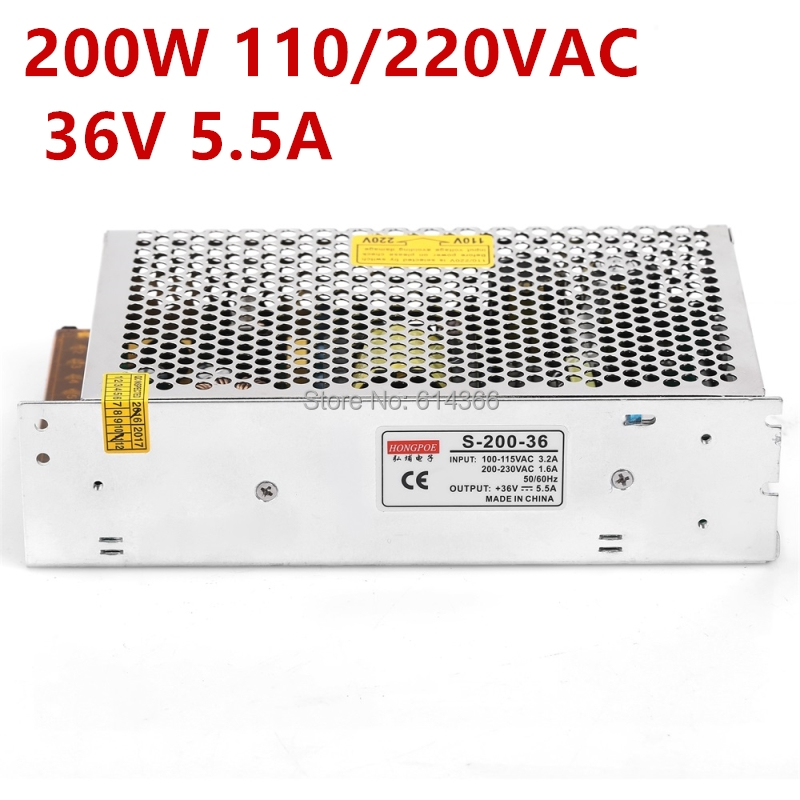 лучшая цена Free shipping AC 110-230V CE ROHS S-200-36 36V power supply 36V LED Driver, 36V 5.5A power supply
