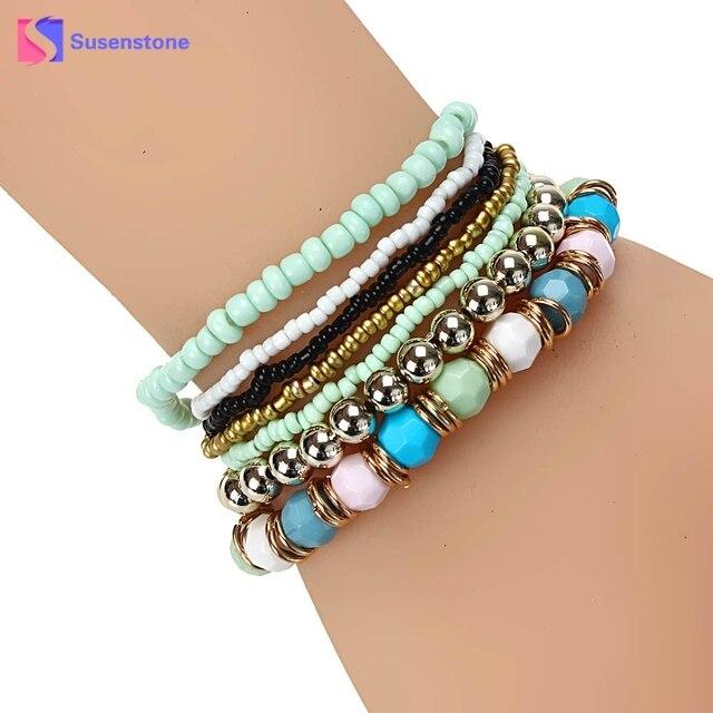 Susenstone Vintage Jewelry Beaded Bracelets Elastic Bracelet Bangle Women Multilayer Acrylic Beads Beach Gifts
