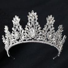 KMVEXO Fashion Big Drop Crystal Wedding Diadem Rhinestone Queen Tiaras And Crowns Headbands For Bride Hair Jewelry Accessories