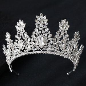 Image 1 - KMVEXO Fashion Big Drop Crystal Wedding Diadem Rhinestone Queen Tiaras And Crowns Headbands For Bride Hair Jewelry Accessories