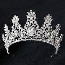 KMVEXO אופנה גדול זרוק קריסטל חתונה נזר ריינסטון מלכת מצנפות וכתרים סרטי ראש הכלה שיער תכשיטי אבזרים