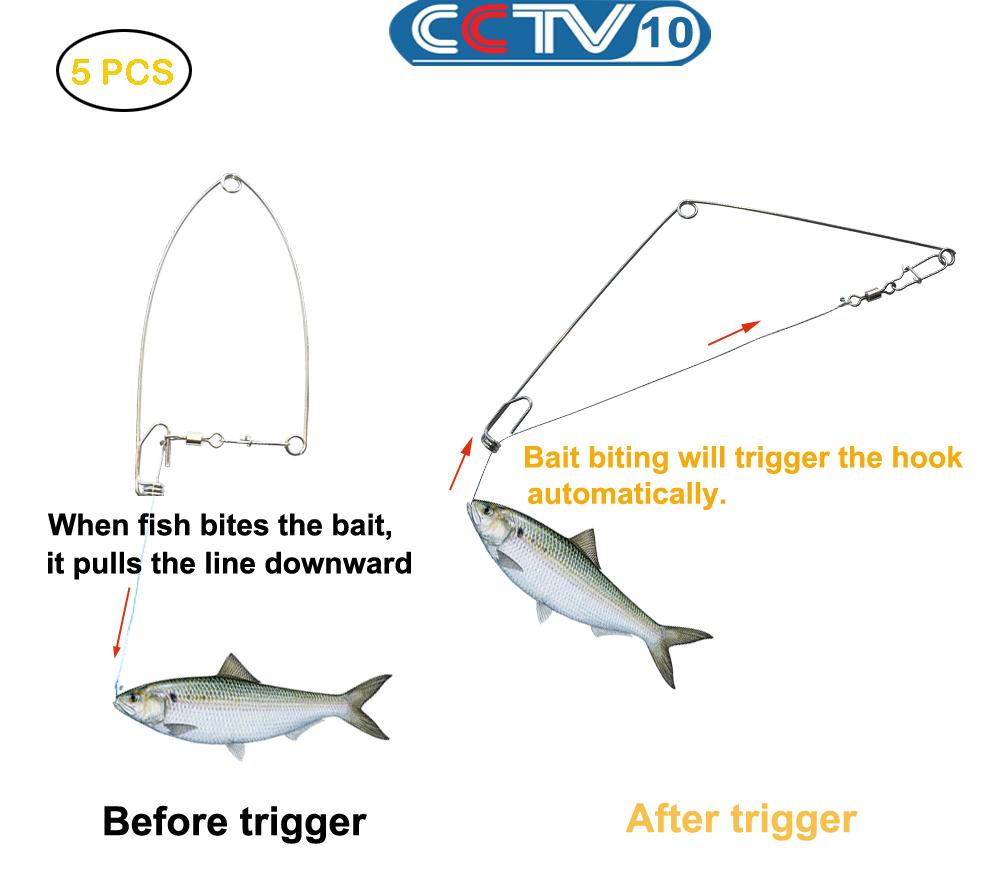 Stainless Steel Spring Fishing Hook Setter Bait Biting Triggers Hook To Catch Fish Automatically Automatic Fish Trap