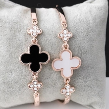 2019 Best Wishes Women Charm Bracelet Stainless Steel Four-leaf Clover Jewelry Rose Gold Bracelet Gifts For Women Lovers Student цена в Москве и Питере