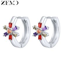 цена ZEMO White Gold Circle Earring Female Snowflake Shape Earrings Hoops with Zircon Crystal Small Hoop Earrings for Women Fashion