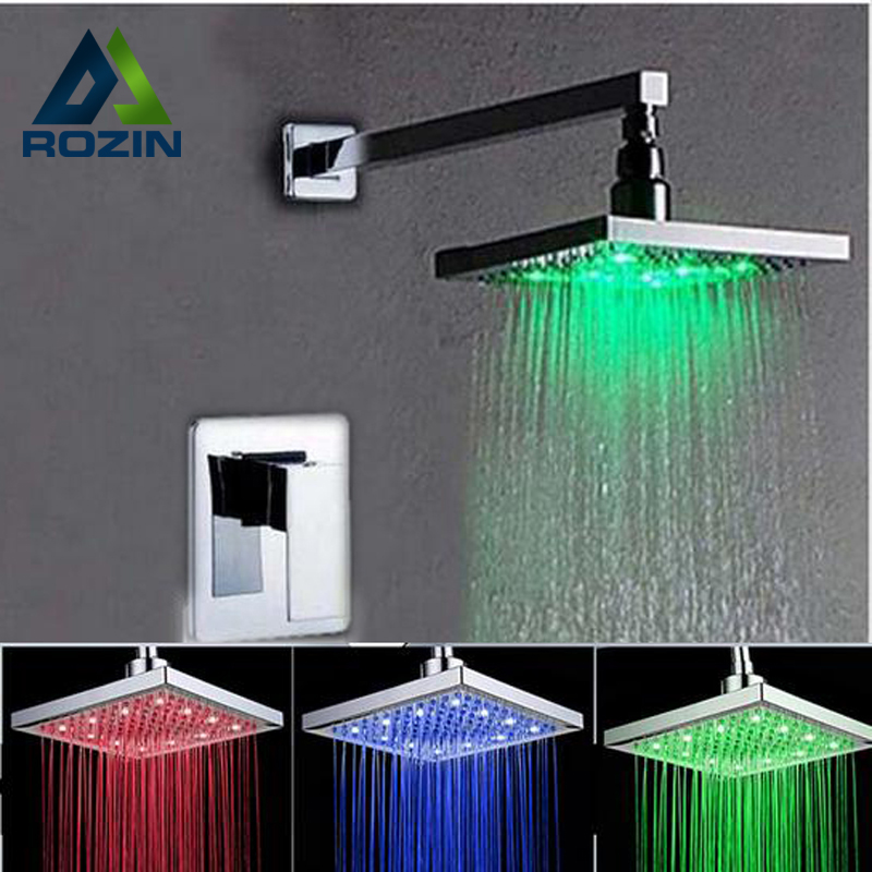 Retail 12 Inch LED Light Rain Shower Head RGB 3 Color Changing Temperature Plastic Material Chrome Finish