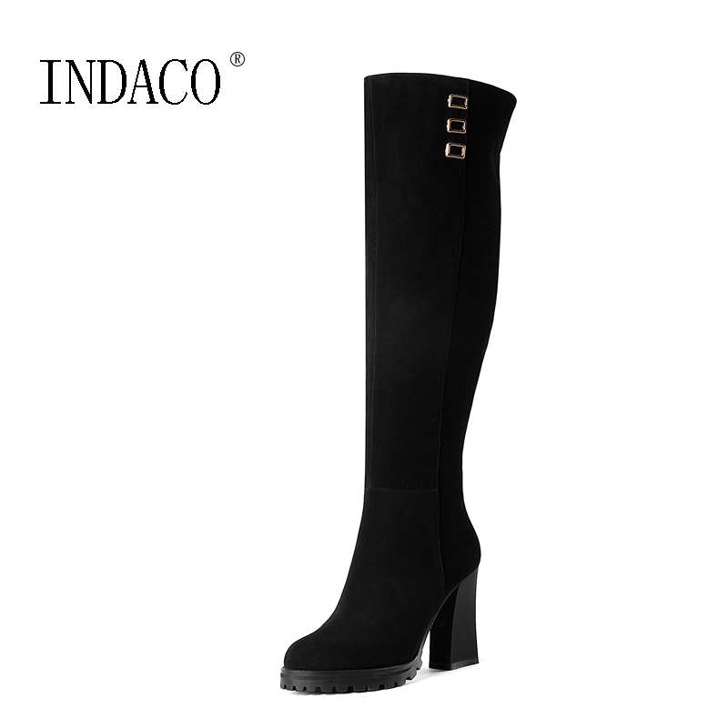 Womens Knee High Boots Leather Women's Boots Fashion Winter Boots for Women 10cm Thick High Heel цена и фото