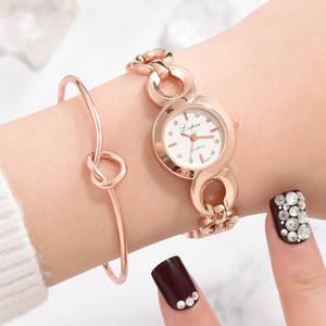 Quartz Wristwatches Montre Buckle Dial-Bracelet Femme Women N55 Link-Strap Simple-Point-Drill