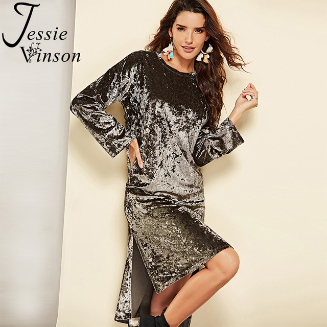 8533a314a Jessie Vinson manga larga dobladillo alto bajo lateral de terciopelo vestido  largo mujer Otoño Invierno Casual Irregular vestidos