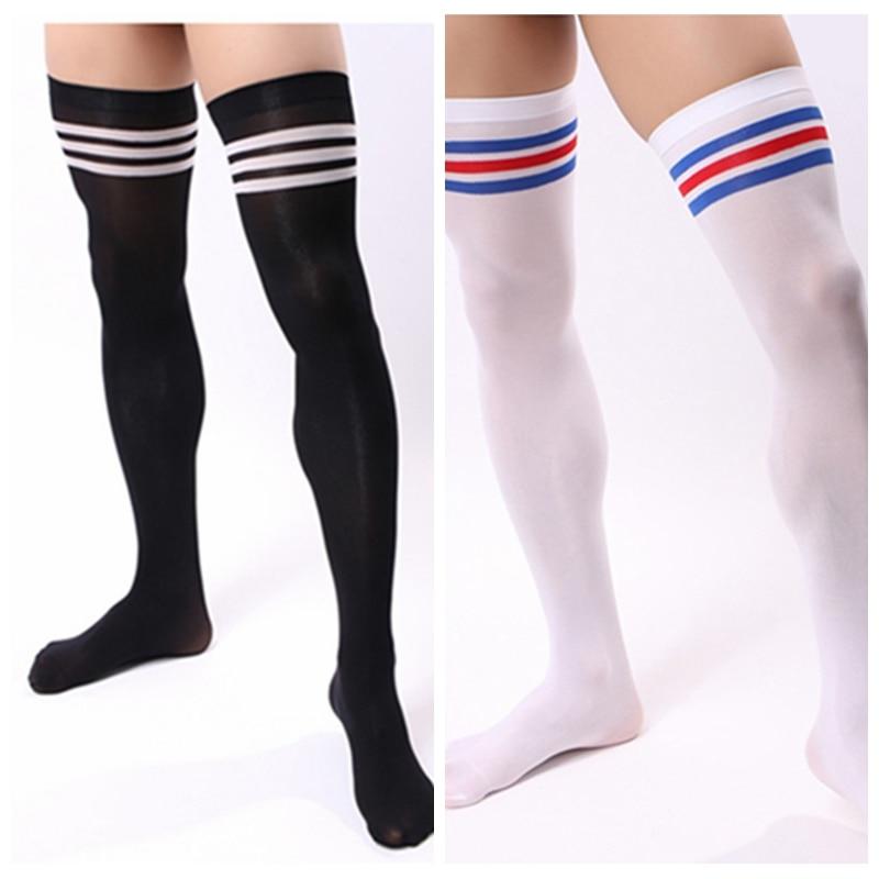 1 Pair Men Soccer Football Thigh Stocks High Stockings Velvet Sport Striped Long   Socks   Clothing Accessories YLM9857 YLM9858