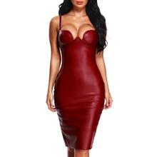 INDRESSME INDRESSME Spaghetti Strap Sexy PU Club Dress Fashion Split Party Dresses For Women 2018