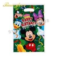500 sztuk/partia Mickey Theme Strona Gift Bag Party Dekoracje Plastikowe Cukierki Torba Loot Bag Dla Kids Festival Party Supplies