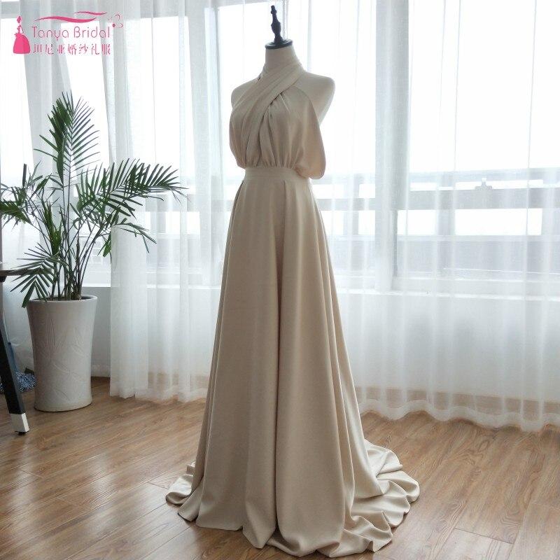 Champagne A Line Wedding Dresses 2018 Simple Sexy Beach Bohemian Bridal Gowns Soft Satin Vestido De