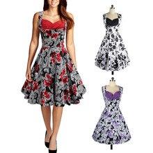 1950s Vintage Women Floral Print Evening Swing Dress