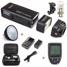 купить Godox AD200 200Ws 2.4G TTL Flash Strobe 1/8000 HSS Cordless Bare Bulb/Speedlite Speedlight For Canon Nikon Dslr Camera With X1T по цене 21428.16 рублей