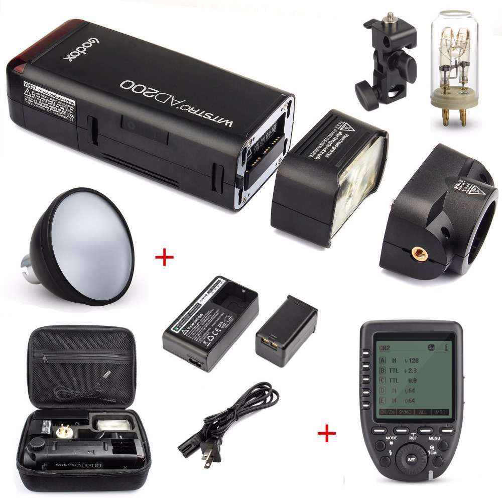 Godox ad200 200ws 2.4g ttl flash strobe 1/8000 hss sem fio nua lâmpada/speedlite speedlight para câmera canon nikon dslr com x1t