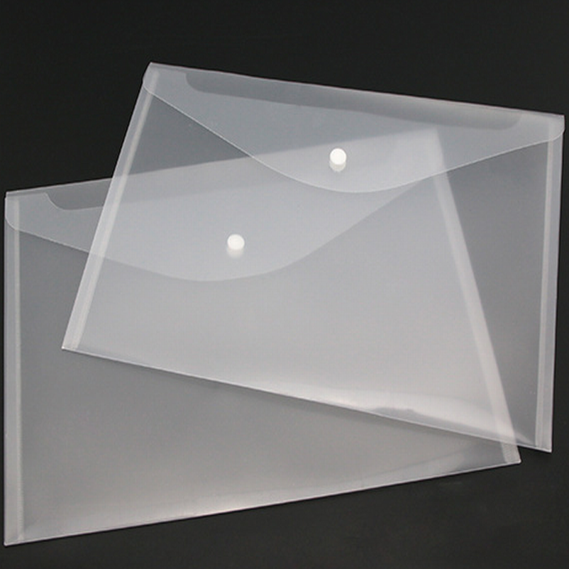 300PC Transparent Plastic A4 Folders File Bag Document Hold Bags Folders Filing Paper Storage Office School Supplier