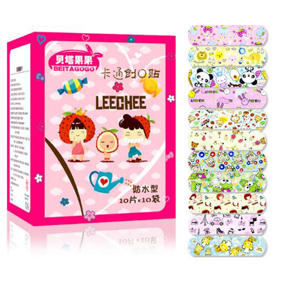 100Pcs Children Waterproof Wound Patch Waterproof Bandage Cartoon Cute Band-Aid Hemostatic Adhesive Medical Band-aid D056