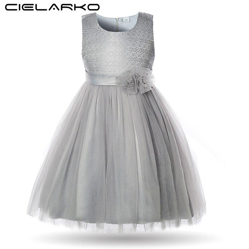 a6624d438f8da55 Cielarko/Элегантные Платье для девочек с цветочным узором детская кружевная  Свадебная вечеринка Бальные платья для